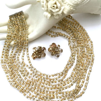 Demi Sale Hattie Carnegie Beaded Demi, Necklace and Earrings Set, Clear Crystal Gold Foiled Beads,Five Rows of Double Strands, Special Occas
