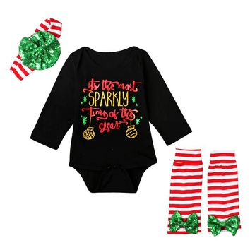 2017 Christmas Baby Girl Clothes Set Funny Sparkly Bodysuit Knee Pads Flower Headband 3pcs Striped Outfits Party Newborn Clothes
