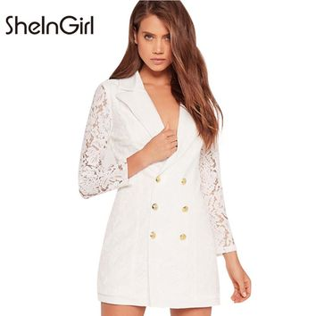 SheInGirl Office ladies blazers White Lace Hollow Out Patchwork Women Blazer Long Sleeve V-Neck Double Breasted Casual blaser
