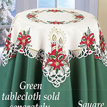 Red Gold Green Candles Poinsettia Table Square