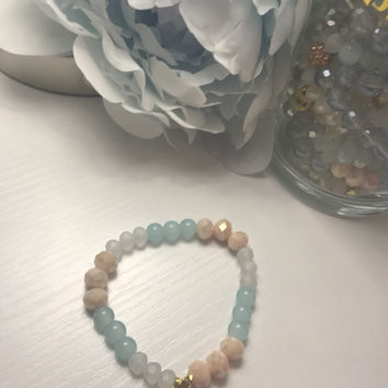Ermish Mint Jar Bracelet- Mint, Peach, and Clear
