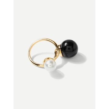 Black Faux Pearl And Ball Twist Ring
