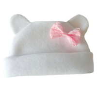 Baby Girls' White Fleece Hat with Ears and Pink Bow