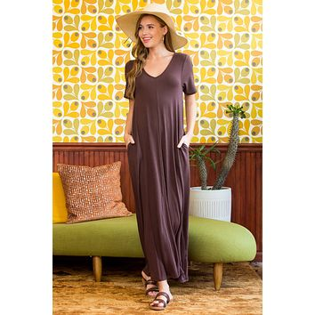 V-Neck Short Sleeve Pocket Maxi Dress