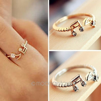 Music Note Design Vintage Adjustable Flower Finger Ring = 1946866692