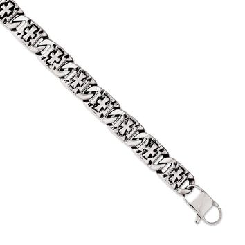 Stainless Steel Antiqued Links with Crosses Bracelet