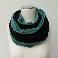 Mint Green Black Infinity Scarf - Green Circle Jersey Scarf - Green Black Jersey Loop - Reversible Infinity - Mint Green Eternity Cowl