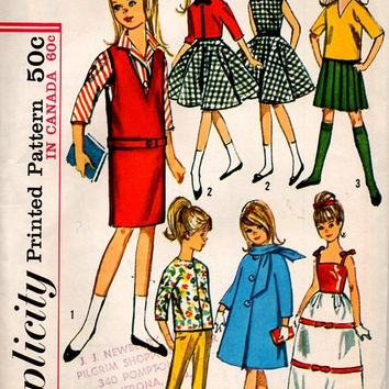Simplicity 5861 Retro Sewing Pattern 1960s Barbie Skipper Wardrobe Fashion Coat Gown Dress School Uniform Uncut Collectible Mattel