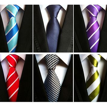 RBOCOTT Men's 8 cm Fashion White Black Ties Purple Striped Tie Yellow Necktie Red Wedding Neck Tie For Men Formal Business Suit