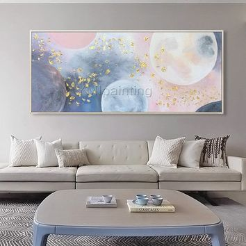 Acrylic painting Abstract Gold and pink moon Original painting on canvas extra large living room wall art pictures Decor cuadros abstractos