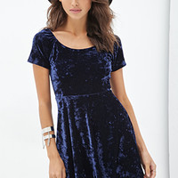 FOREVER 21 Crushed Velveteen Dress Navy