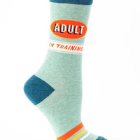 Adult In Training Women's Socks in Retro Blue Ringer