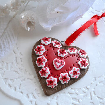 Polymer Clay Ornament - Cookie Ornament - Heart Ornament - Valentines Day Decor - Holiday Ornament - Polymer Clay Heart - Holiday Tree Decor