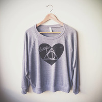 """Large, Harry Potter """"Always"""" Women's Slouchy Pullover in Grey MADE TO ORDER"""