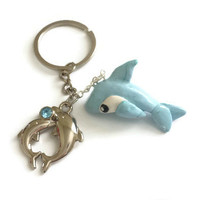 Blue Dolphin Keychain, Ocean Accessories, Cute Fish Jewelry, Kawaii Ocean Dolphin, Fizz Keychain, Water Cute Pendant, PolymerClay Dolphin