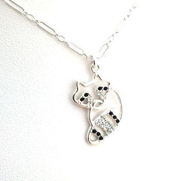 Raccoon Necklace, Cute Animal Necklace,  Fox, Sterling Silver Jewelry, Nature, Silhouette, Swarovski Crystal