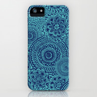 Tossed Blue mandalas iPhone & iPod Case by Janet Broxon
