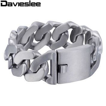 Davieslee Heavy Thick Mens Bracelet Chain Silver Tone Matte Finish Curb 316L Stainless Steel Fashion Jewelry 27mm LHB409