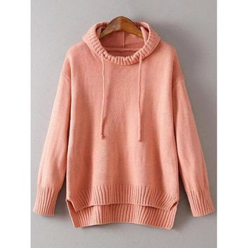 Hooded Uneven Hem Sweater - Orangepink One Size