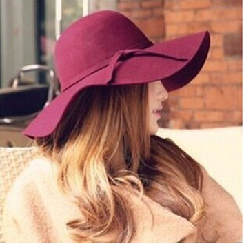 New 2016 Summer Hat Ladies Women's Fedora Beach Sun Hats Floppy Wide Large Brim Cloche Bowler Pure Woolen Cap
