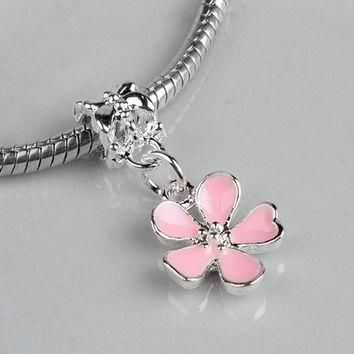Free Shipping Silver Bead Charms European Cherry Blossoms Flower Pendant Bead Fit Wome