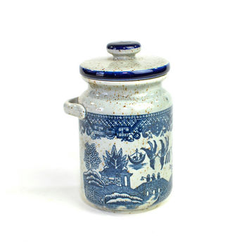 Blue Willow Stoneware Crock Style Canister Jar, Made in Japan - Lidded, Side Handle for Hanging Spoon - Vintage Home Kitchen Decor