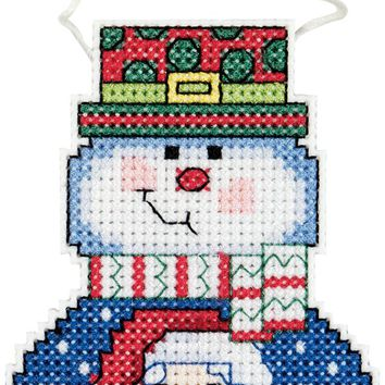 """Holiday Wizzers Snowman With Santa Counted Cross Stitch Kit 3""""X2.25"""" 14 Count"""