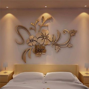 3D Mirror Floral Art Removable Wall Sticker