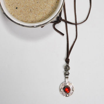 Berber Coin Ruby Leather Necklace