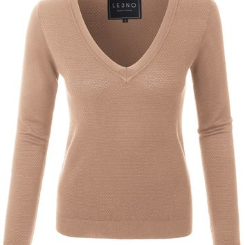 Lightweight Slim Fit V Neck Long Sleeve Knitted Sweater Top