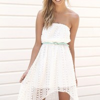 Strapless Crochet Hi-Low Maxi Dress