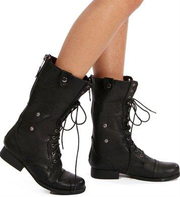 black lace up back zipper combat boots from shoes