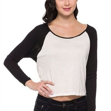 Casual Color Block Scoop Neck Raglan Long Sleeve Cropped Tee Shirt Top