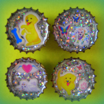 Upcycled Bottle Cap Magnets Resin Lisa Frank Puppy Medley Handmade Recycled Reclaimed Repurposed Eco Friendly Ceramic Magnet