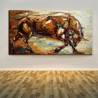 100% Hand-painted Abstract Bull Oil Painting On Canvas