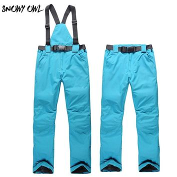 Free women ski pant solid waterproof windproof and thermal candy color trousers winter outdoor sport bib pant