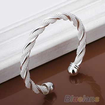 Bluelans Silver Plated Twist Net Cuff Bangle Fashion Bracelet Bracelets Bangles 00PD
