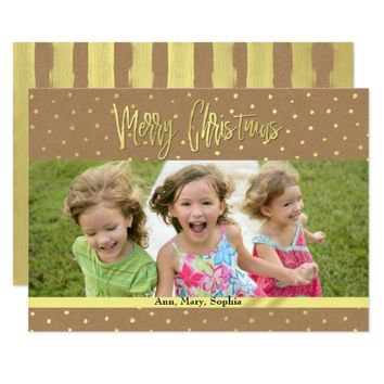 Merry Christmas Rustic Gold Photo Card