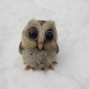 Baby owl needle felted bird by HandmadeByNovember on Etsy
