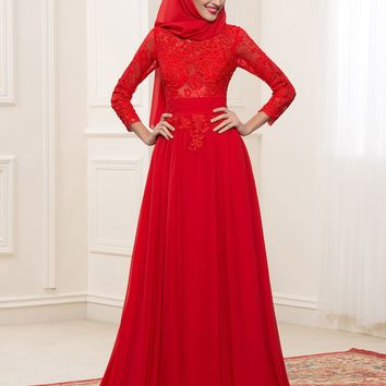 Red Chiffon Long Sleeves Muslim Wedding Dresses With Hijab 2017 Lace Applique A-Line Dubai Bridal Gowns Kaftan Robe de Mariee