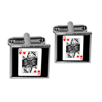 Playing Cards Queen of Hearts Square Cufflinks