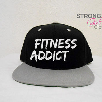 Fitness Addict Hat. Snapback Workout Cap. Flat Bill Hat. Workout Hat. Snapback Hat. Retro Snapback. Flat bill workout hat. Crossfit Hat.