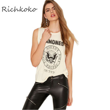 Richkoko Letter Print Beige T-shirt Women Sexy Sleeveless Crew Neck Basic Tops Tees Ladies Casual Street Style Loose Tee Female