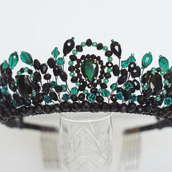 Black emerald crown, prom crown, party tiara, royal crown, crown, tiara, crystal crown, bridesmaid accessories, hair accessories, headpiece