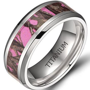 8mm Men's Titanium Ring Pink Forest Camouflage Comfort Fit Wedding Band
