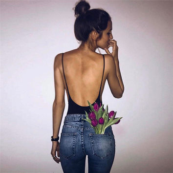 Slim Hot Sale Cotton Women's Fashion Backless Summer One-piece [10361243079]