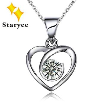 Luxury Solid 18K White Gold Solitaire Moissanite Stone Heart Pendant For Women Engagement 0.3Carat Brilliant