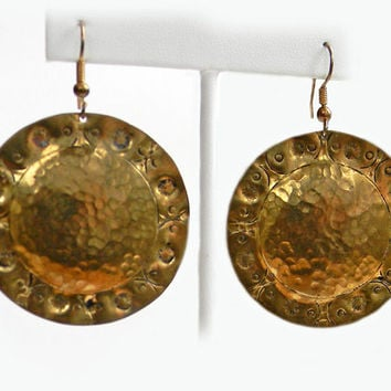 Hammered Large Round Brass Earrings Decorative Border Handcrafted