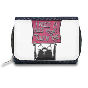 I Need A Hug But Don't Touch Me Zipper Wallet