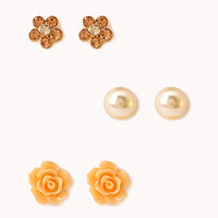 FOREVER 21 Feminine Stud Set Gold/Peach One